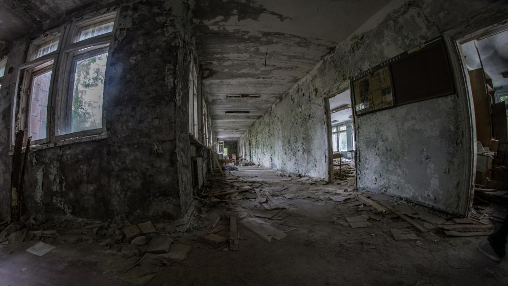 Abandoned building after the Chernobyl accident wallpaper