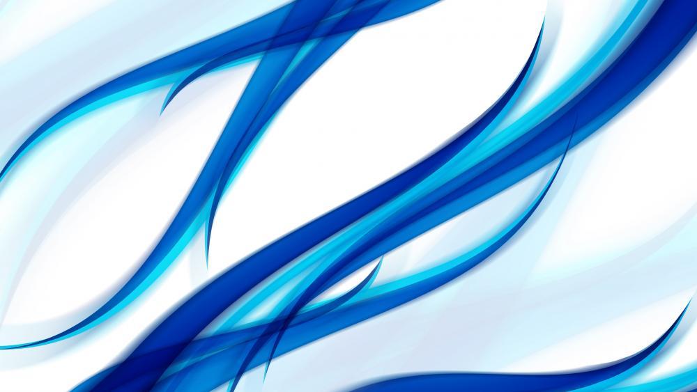 Blue waves abstract art wallpaper