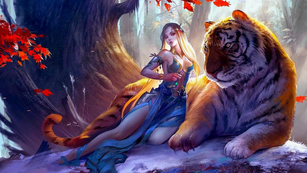 Fantasy girl and her big cat friend wallpaper