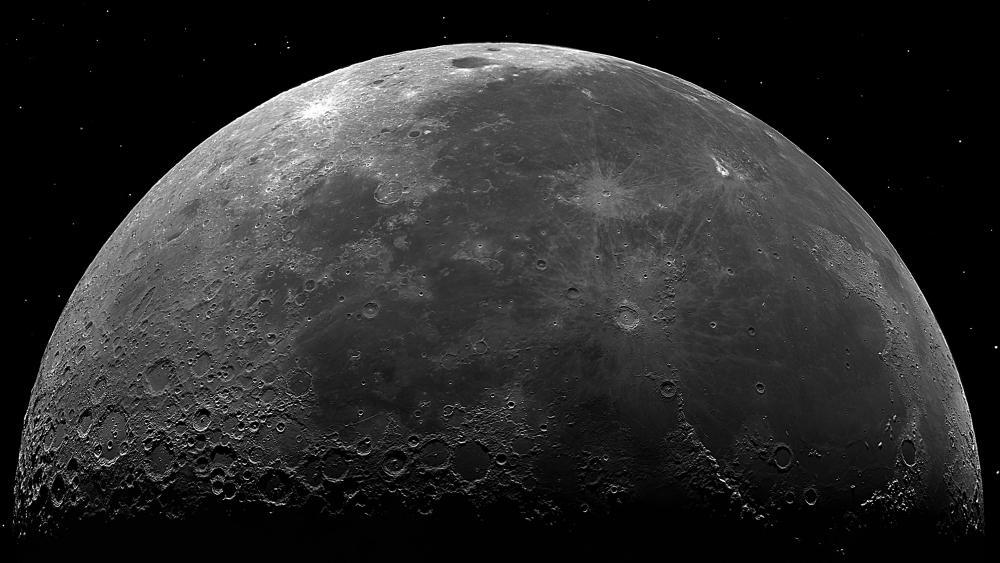 Monochrome moon photo wallpaper