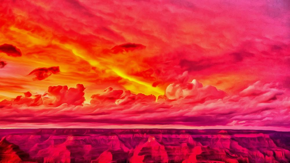 Red canyon digital painting art wallpaper
