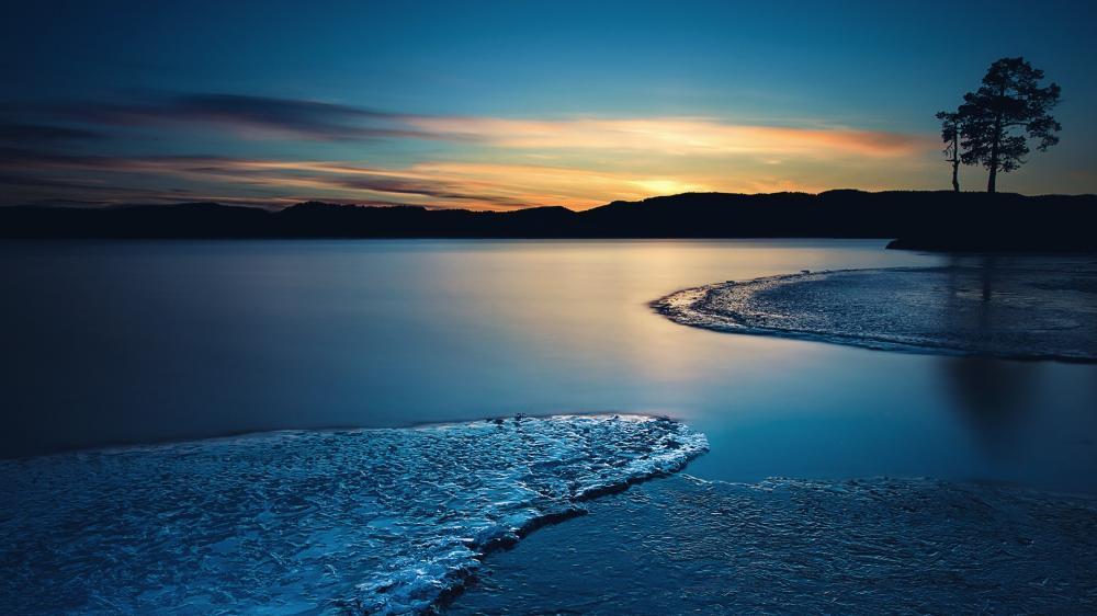 Blue hour landscape wallpaper