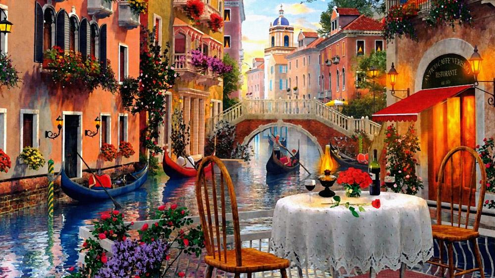 Romantic Venice Scenery Painting Art wallpaper