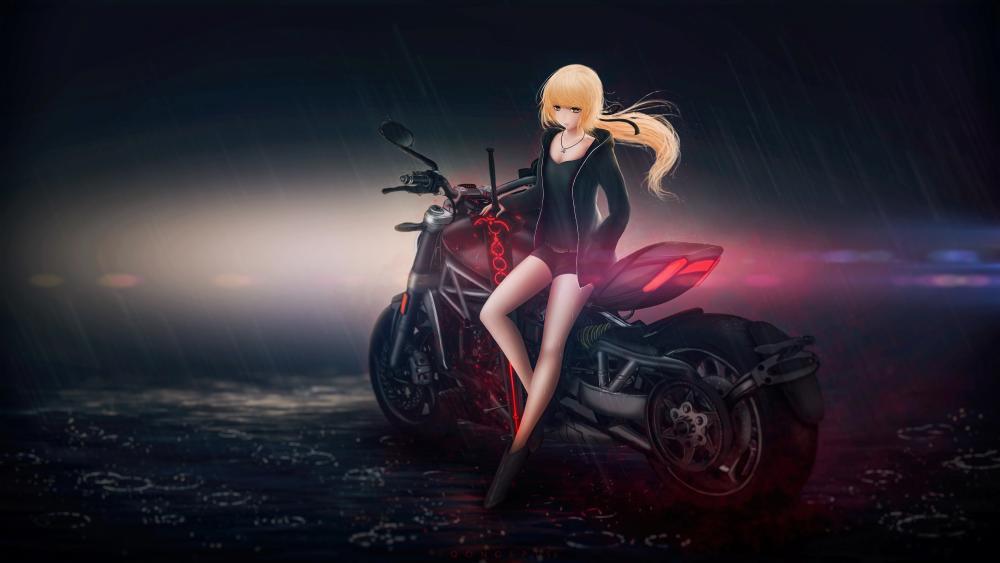 Anime Girl with Bike wallpaper