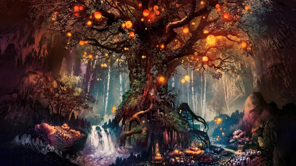 Magical fantasy forest wallpaper