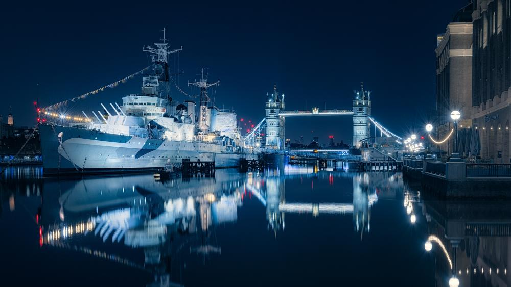 Naval ship on the Thames wallpaper