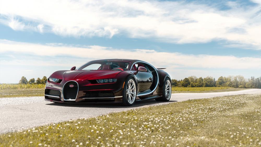 Burgundy Bugatti Chiron wallpaper