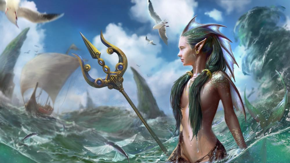 Mermaid with trident wallpaper