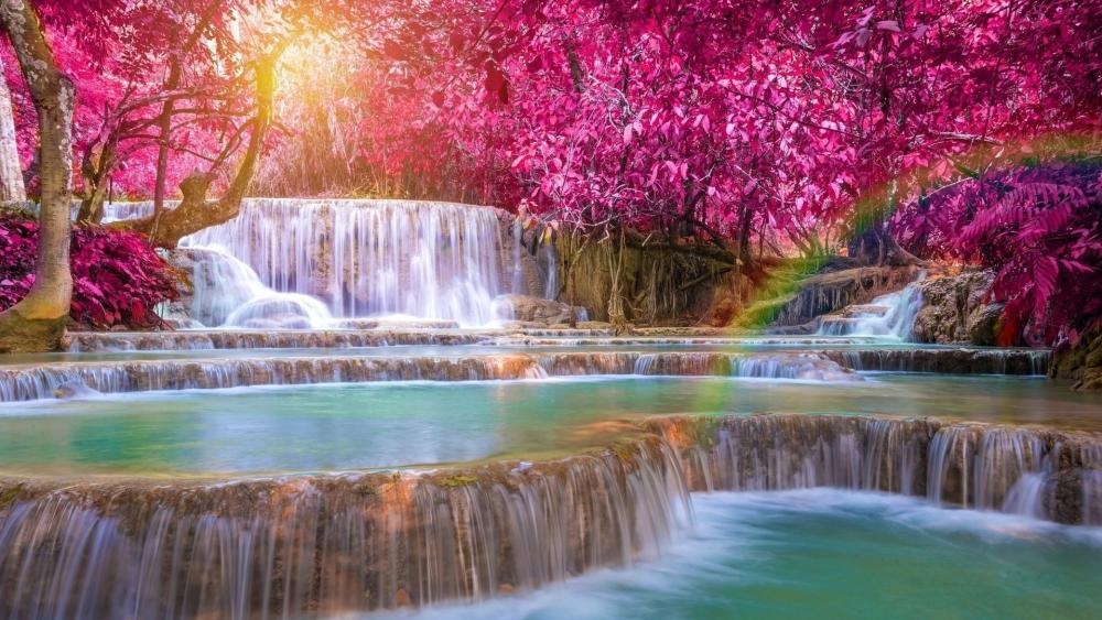Erawan Falls at fall wallpaper