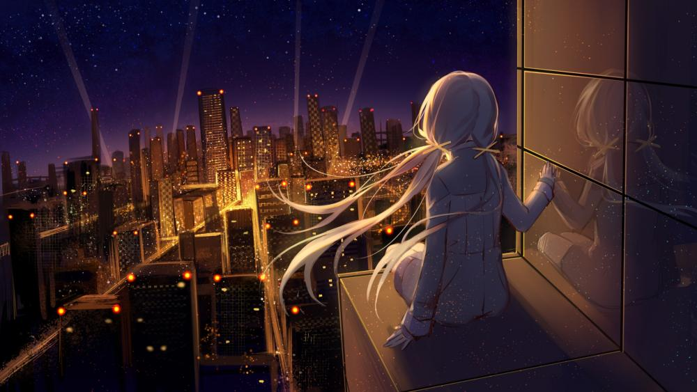 Alone above the city wallpaper