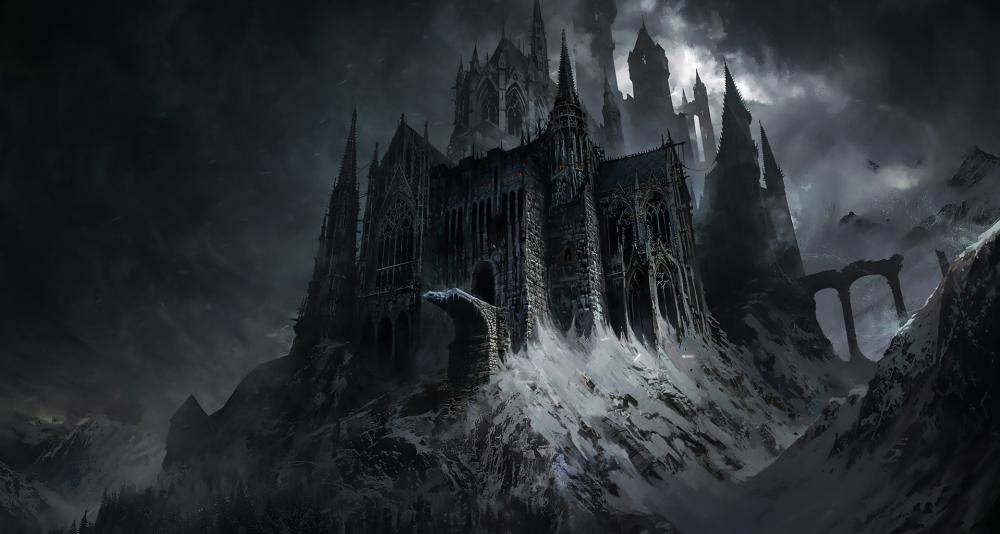 Dark gothic castle fantasy art wallpaper