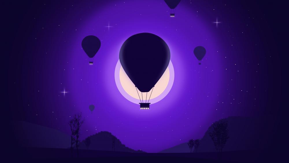 Air balloon in the moonlight minimal landscape wallpaper