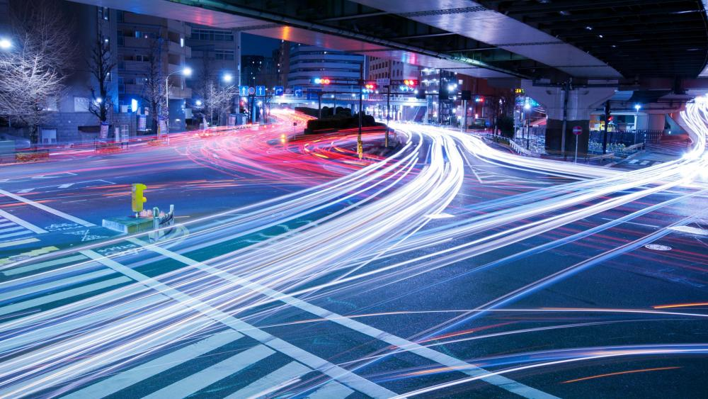Long-Exposure at a Tokyo Intersection wallpaper