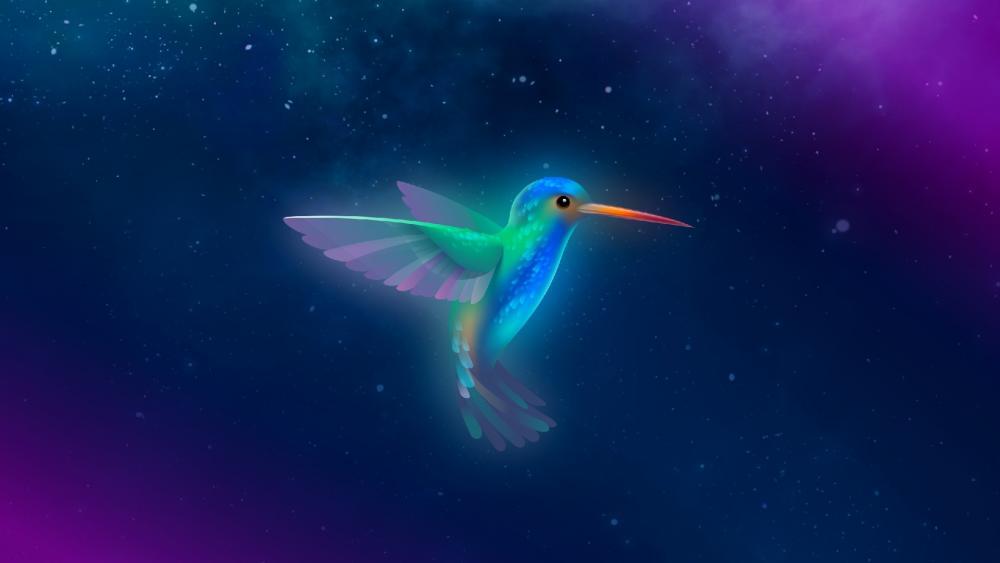 Glowing hummingbird wallpaper