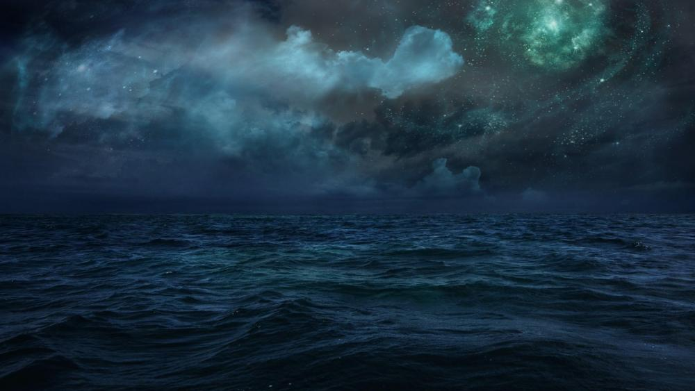 ocean and space wallpaper