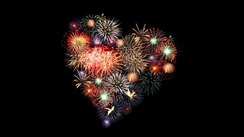 Romantic heart fireworks wallpaper