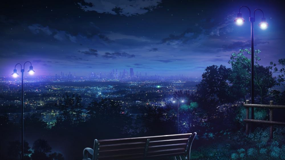 Anime night cityscape from a bench wallpaper