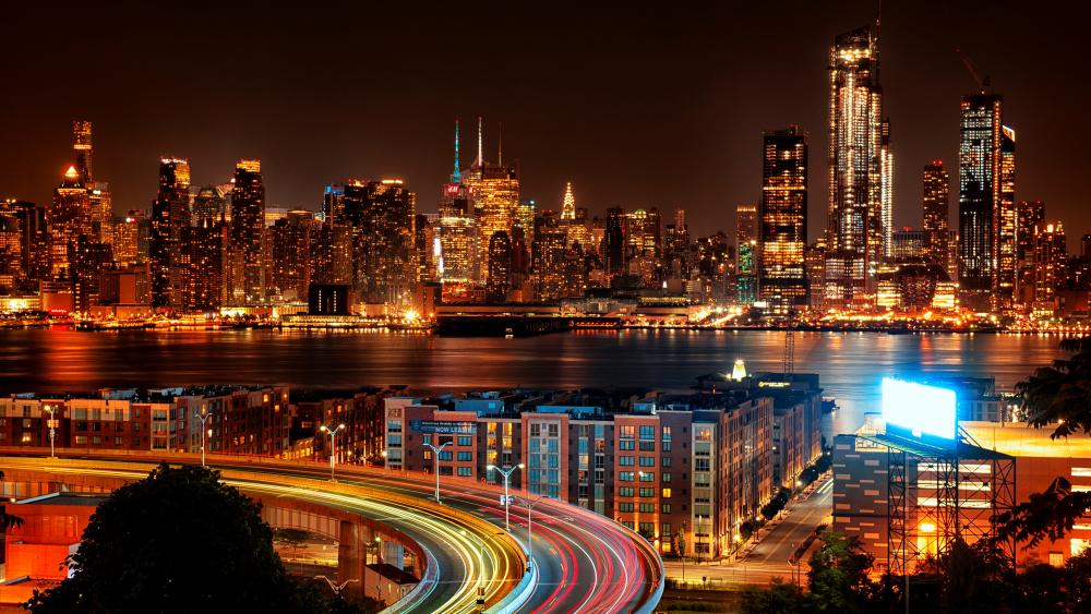 New York City at night wallpaper