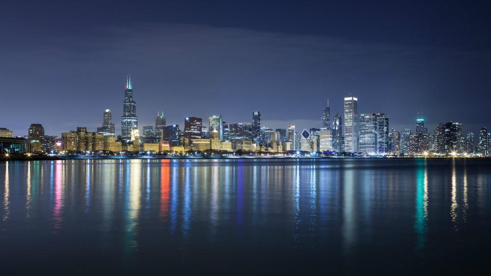 Chicago night skyline wallpaper