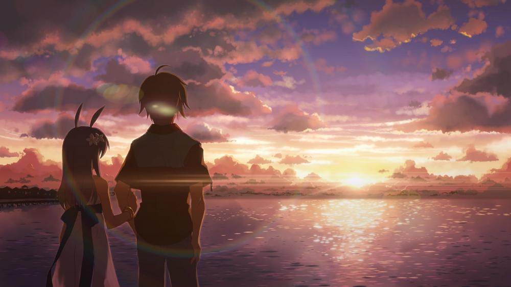 Romantic anime scene wallpaper