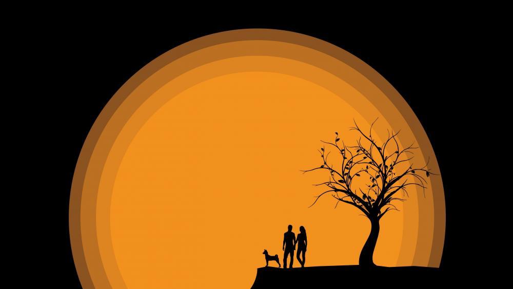 Romantic autumn sunset wallpaper