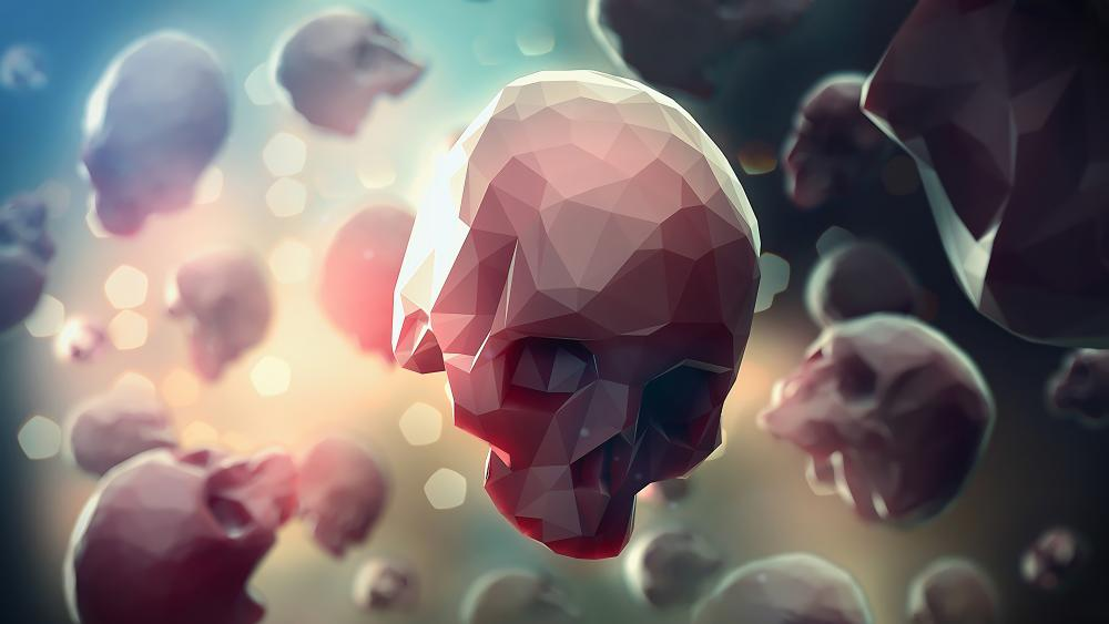 Floating skulls Low-poly art wallpaper