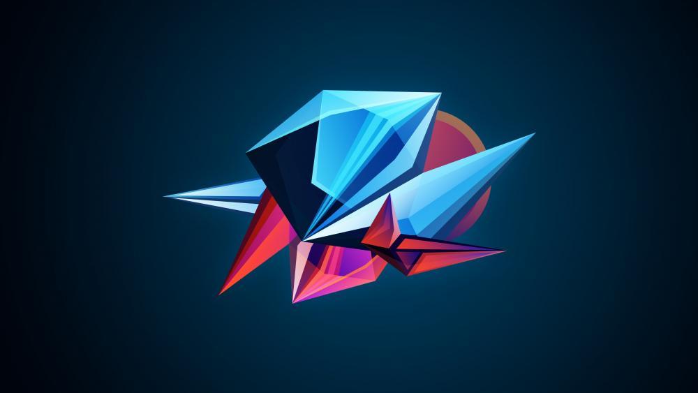 Blue 3D shapes wallpaper