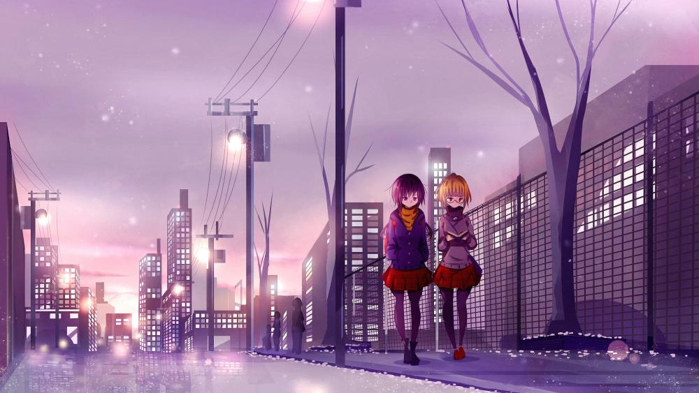 Schoolmates anime art wallpaper