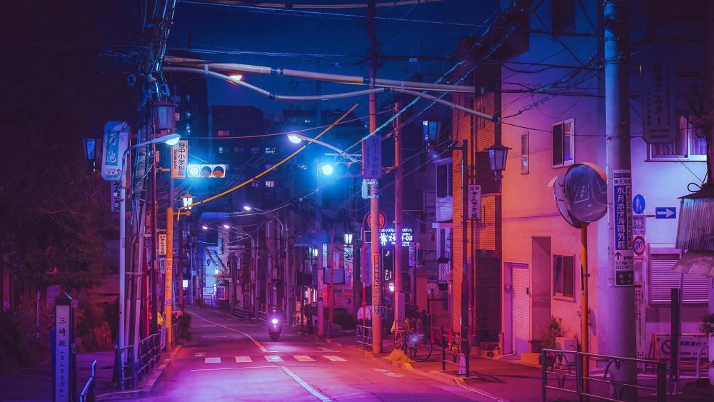A night street in Japan wallpaper