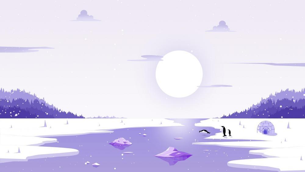 Minimal arctic landscape with penguins wallpaper