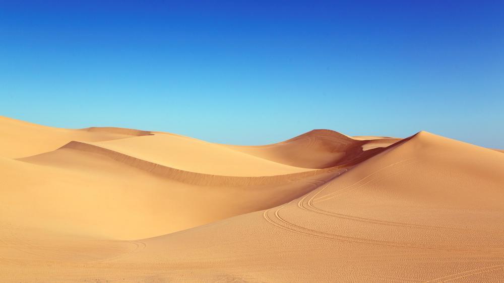 Desert dunes under the blue sky wallpaper