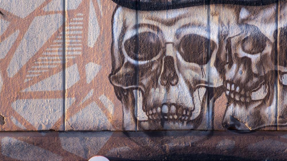 Skulls street art wallpaper