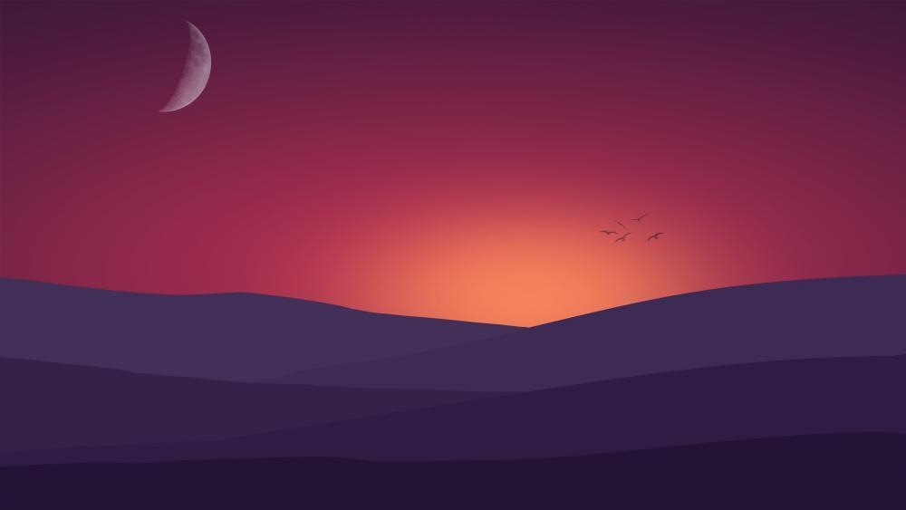 Birds flying towards the sunset landscape Minimal Art wallpaper