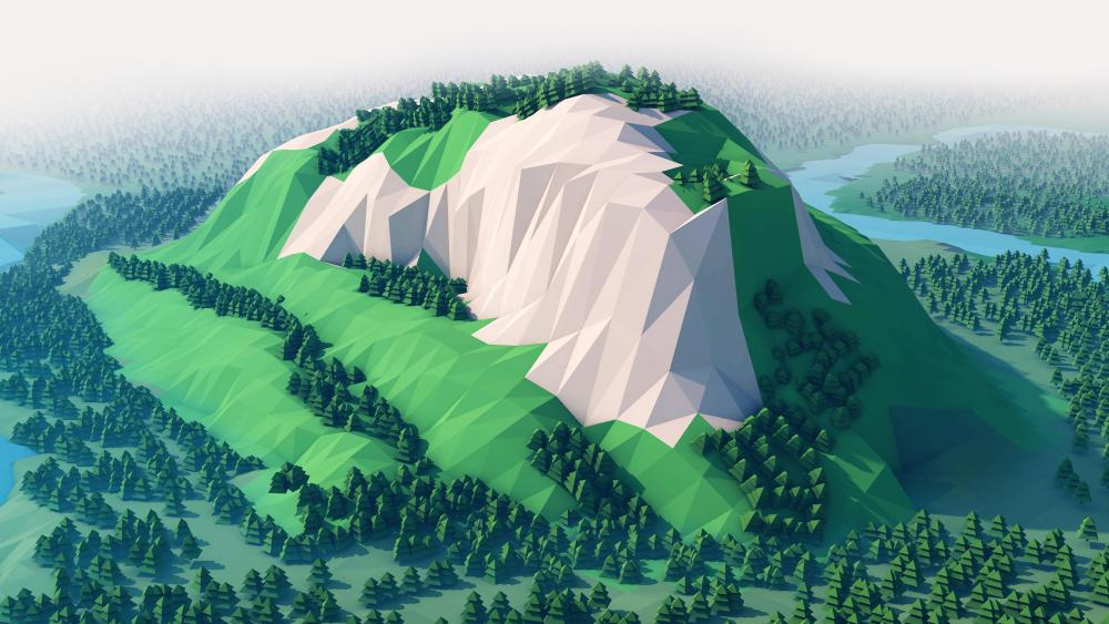 Green low-poly landscape wallpaper - backiee