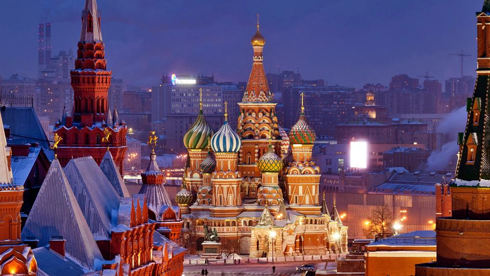 Saint Basil's Cathedral in wintertime wallpaper