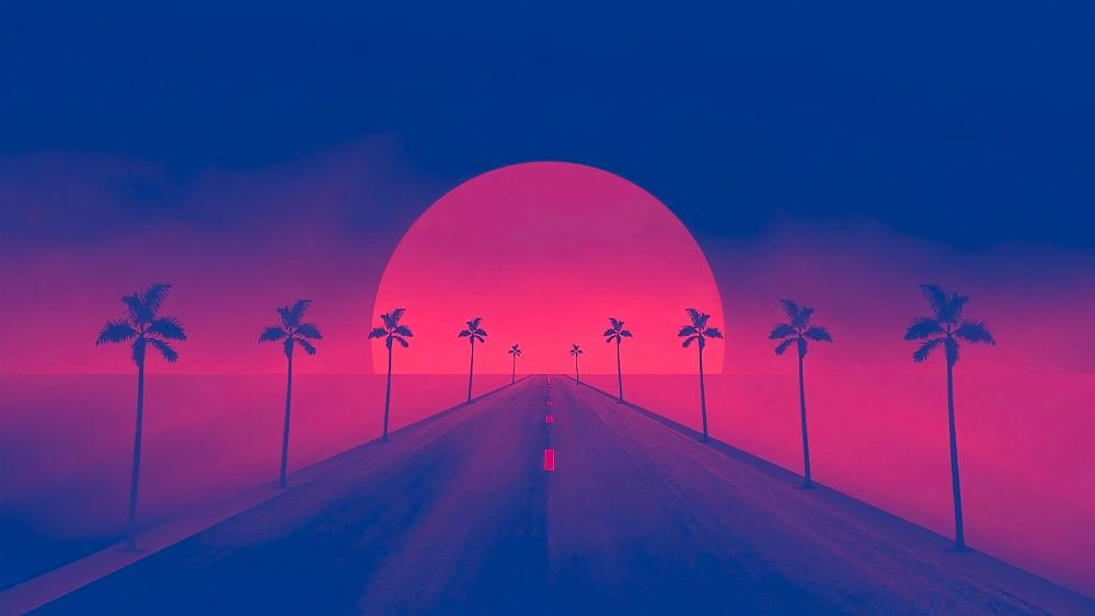 Distant sun digital art wallpaper