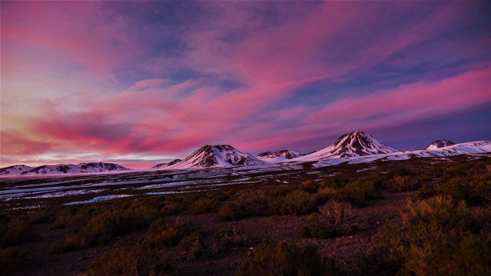 Pink clouds over Atacama Desert wallpaper