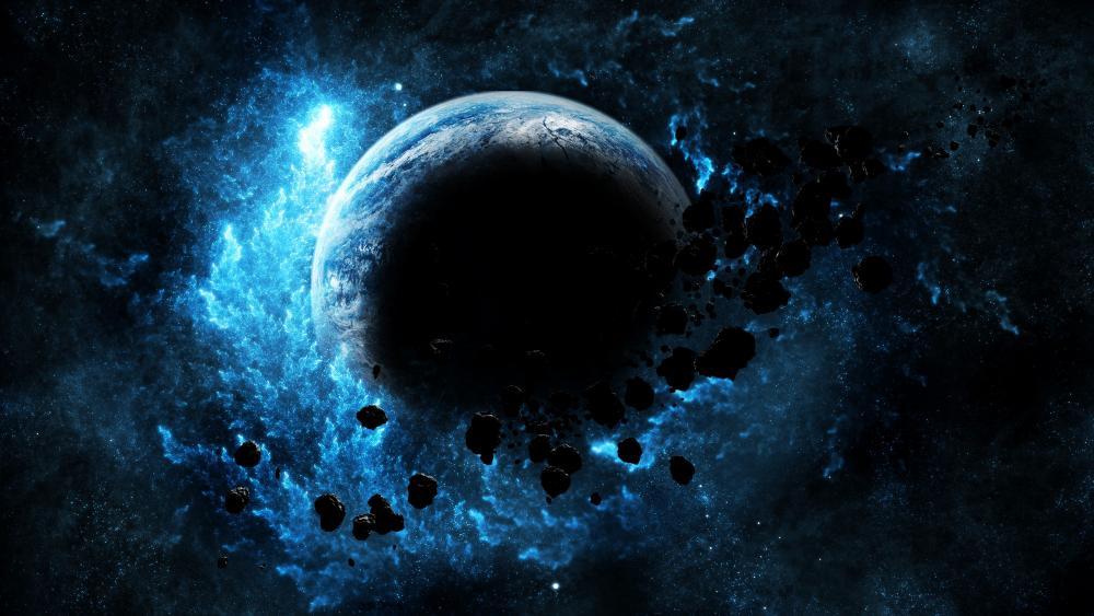 Meteorites around a blue planet wallpaper