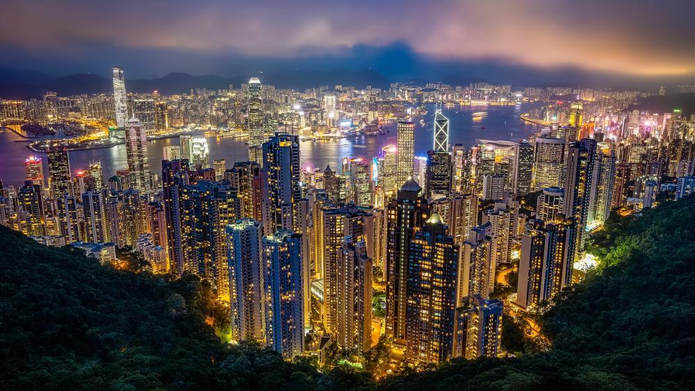 Hong Kong city lights from Victoria Peak wallpaper