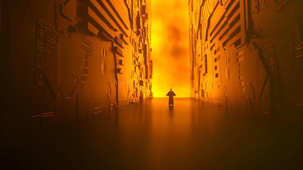 Sci-fi corridor wallpaper