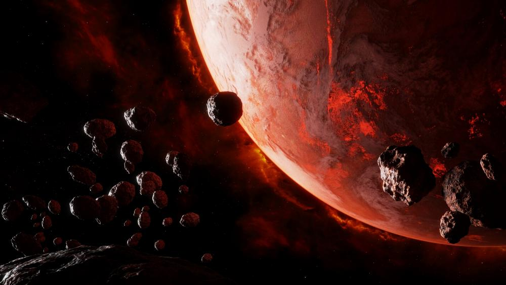 Meteor shower on a red planet wallpaper