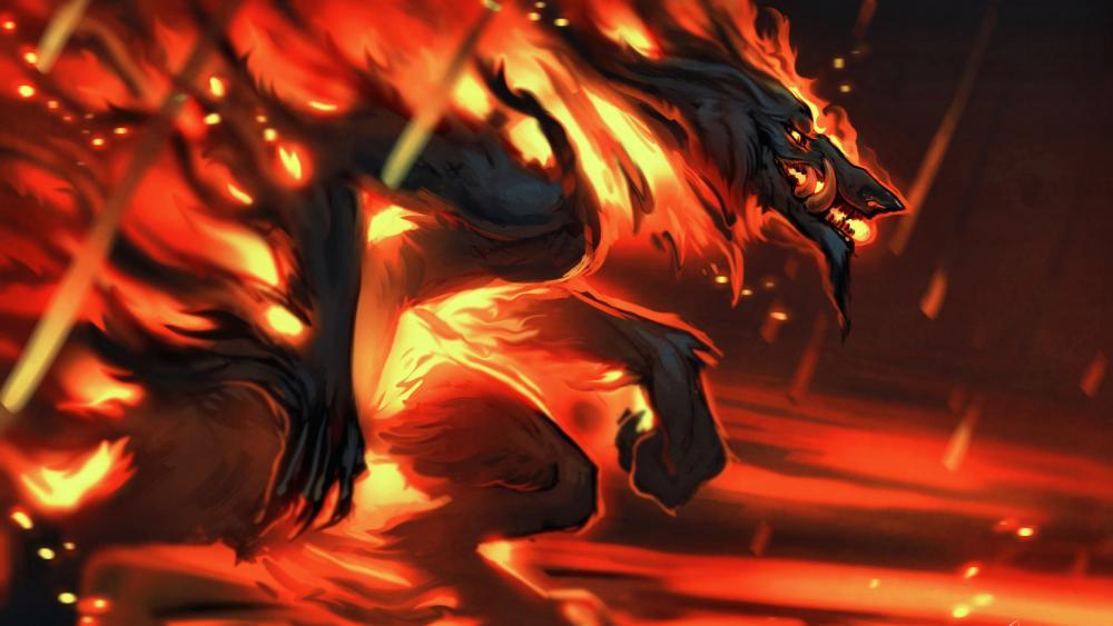 Flaming werewolf wallpaper