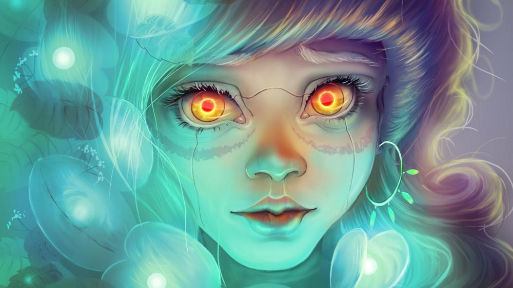 Fantasy girl with glowing eyes digital art wallpaper