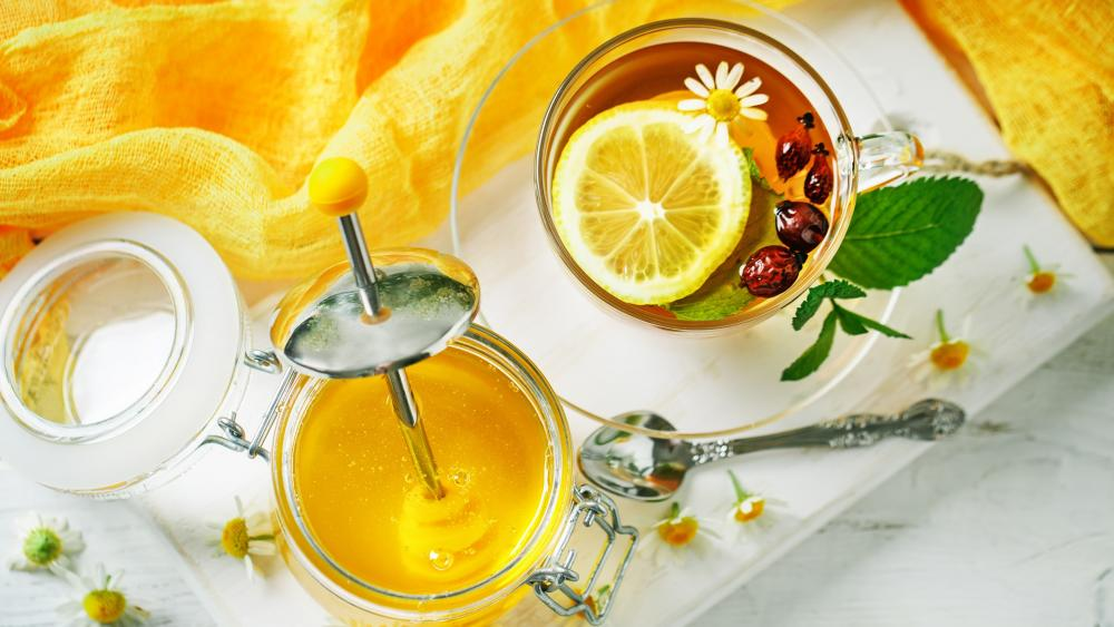 Lemon tree with honey wallpaper