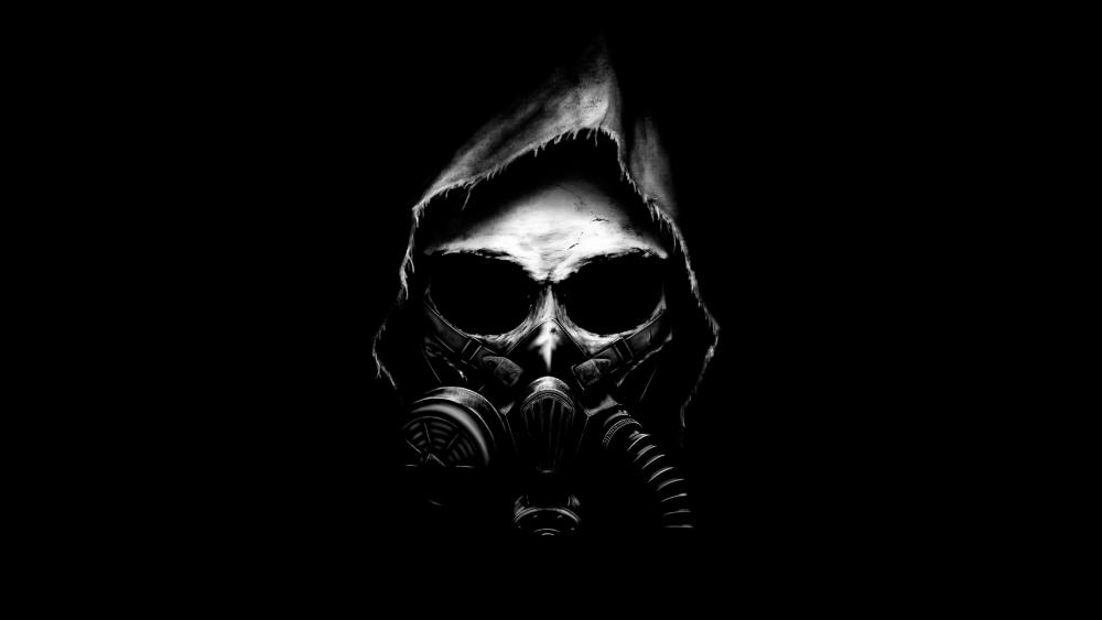 Monochrome skull in gas mask wallpaper