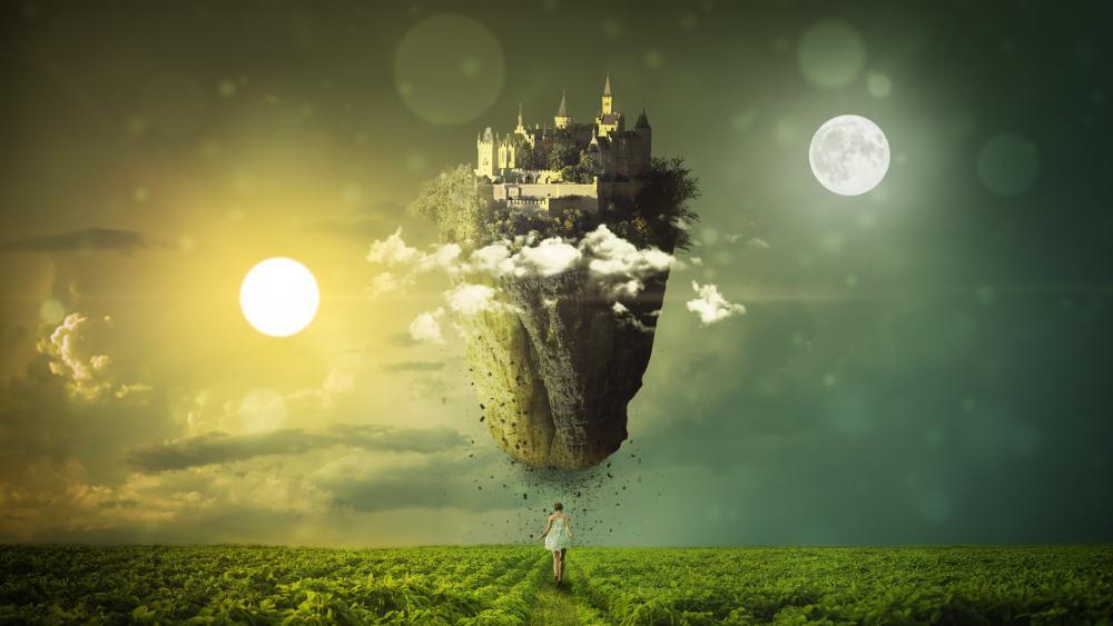 Floating castle wallpaper
