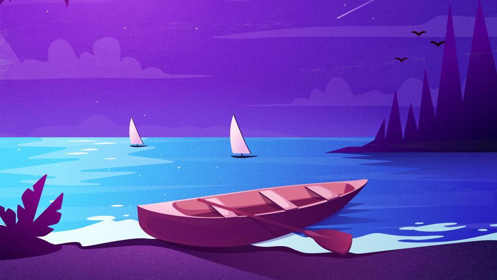 Purple night minimal seascape wallpaper