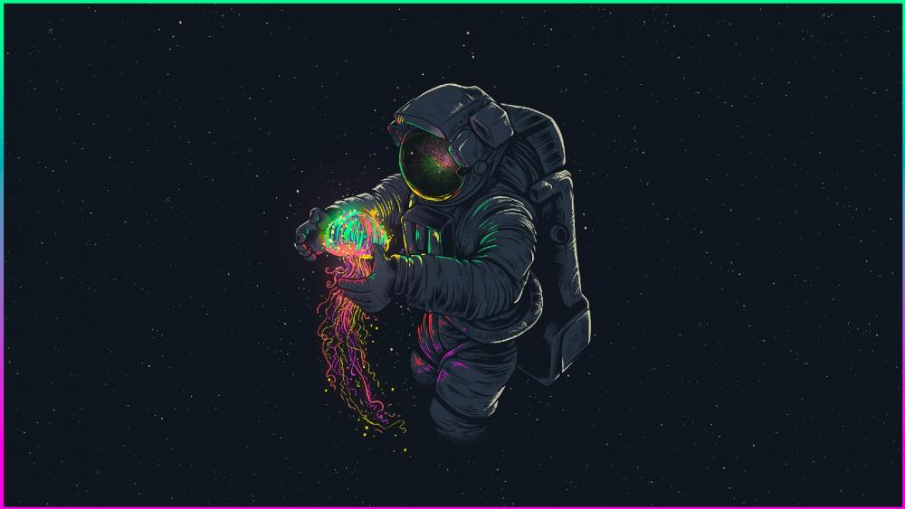 Cosmonaut with neon jellyfish digital art wallpaper