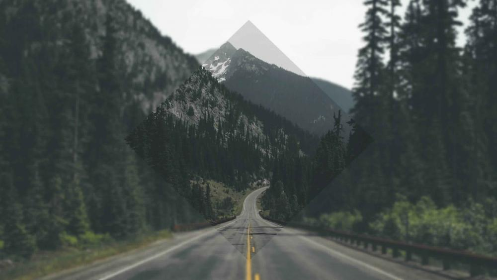 Endless road in the mountains wallpaper