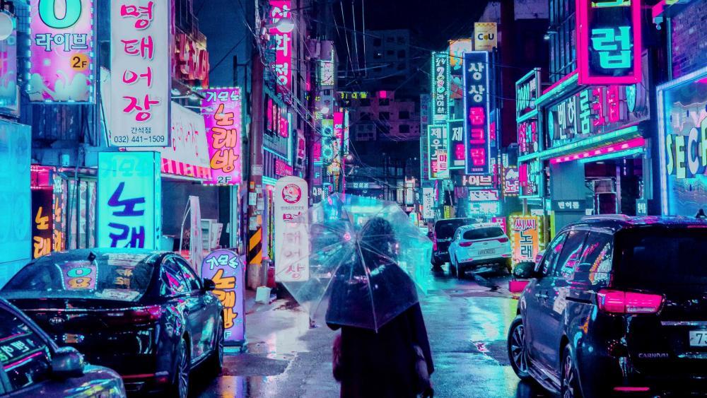 Futuristic neon city street wallpaper